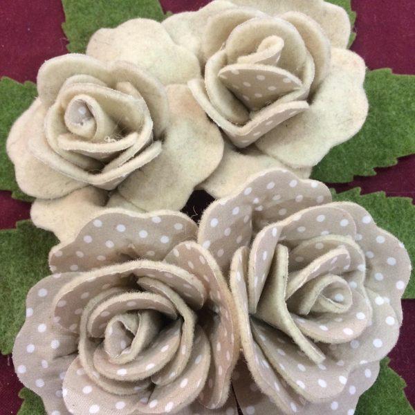 [Kit] Rose Double-Face Feltro e Pois Completo per 4 Rose (Beige)